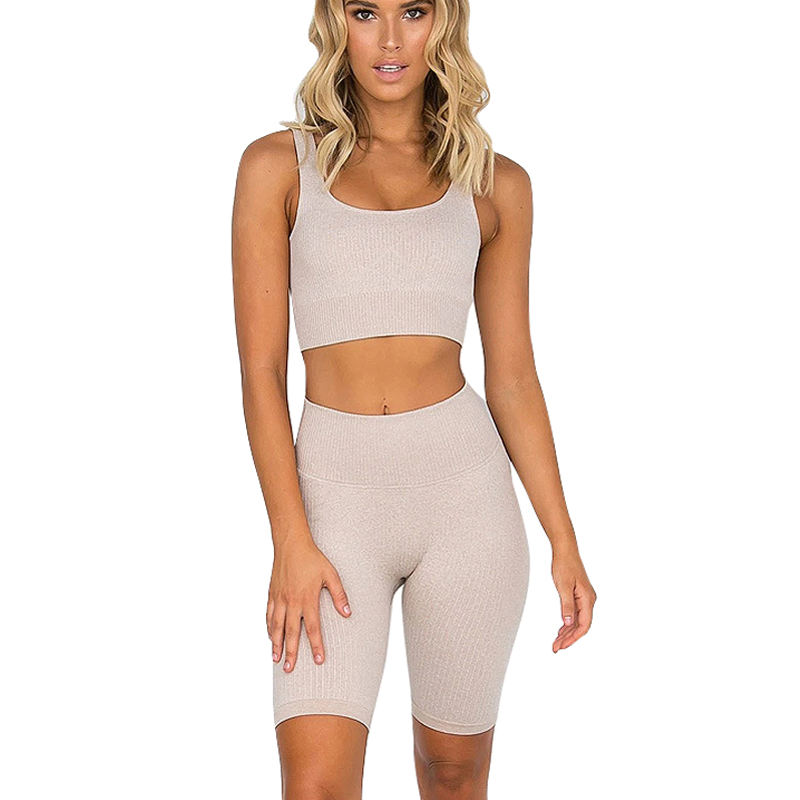 Women's Tummy Control Soft Ribbed Seamless Workout Sport Shorts and Tops Set
