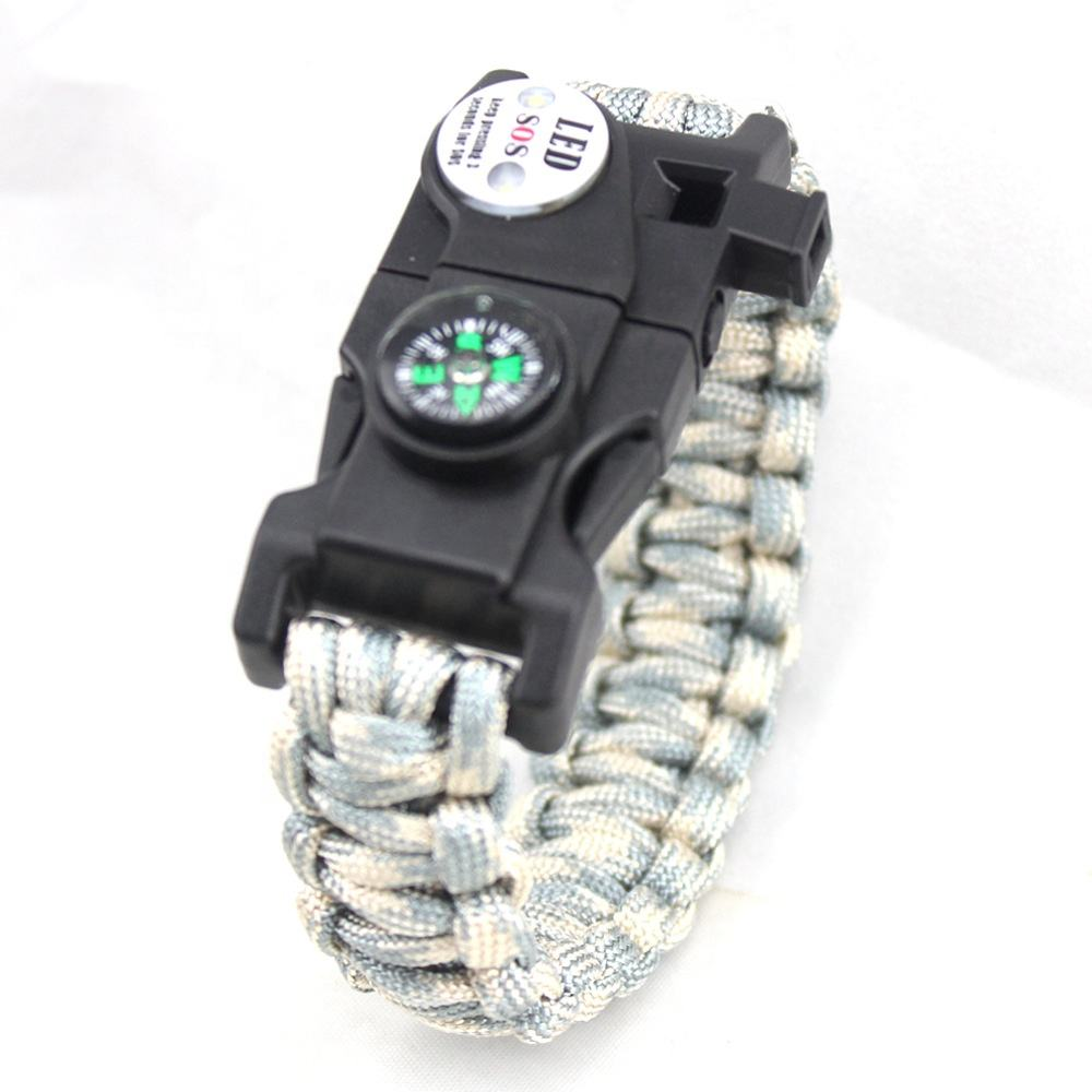 Custom Logo Outdoor Camping Hiking Survival Braided Rope Emergency Kit Paracord Bracelet with LED