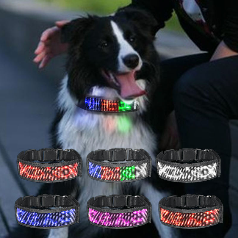 USB Rechargeable with Water Resistant Flashing Light Collar Pet App Controlled Scrolling Message Safety LED Dog Collar