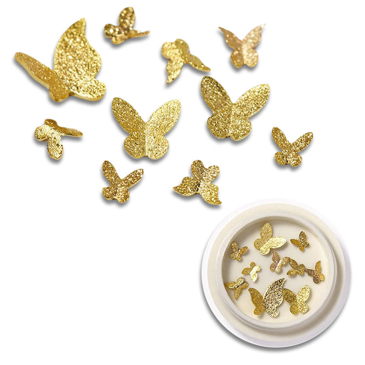 Valentine thin slice DIY gem crystals metal charms rhinestone 3d Gold butterfly nail stickers nail art decoration