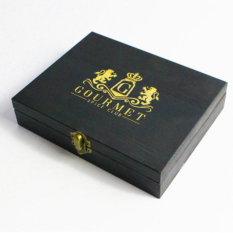 Pan elegent wood black box with golden logo gift storage box wooden custom packaging box