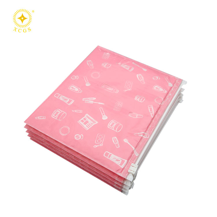 AsterPack 22x18cm 4PCS Pack Pink Fashion Waterproof Plastic Zipper Bubble Envelope With Eyelash Printed For Cosmetic Packaging