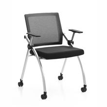 HUASHI meeting room mesh folding Chair training Chair stackable conference room chairs with casters