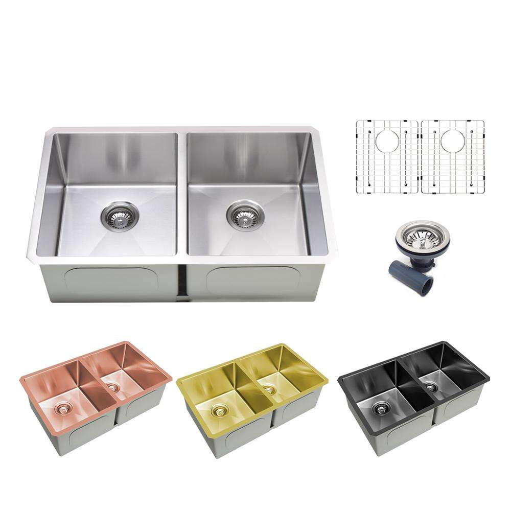 black gold rose gold Handmade Stainless Steel Undermount Nano Color custom size Kitchen Sink