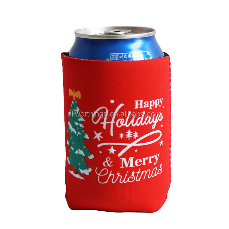 Christmas promotional gift neoprene red can coolers drink can cooler sleeve party