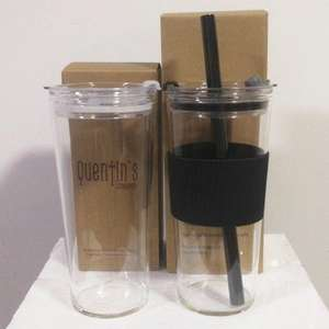 700ml Leakproof Reusable Borosilicate Glass Boba Tea Cup Glass Tumbler with 12mm Straw Lid and Silicone Sleeve
