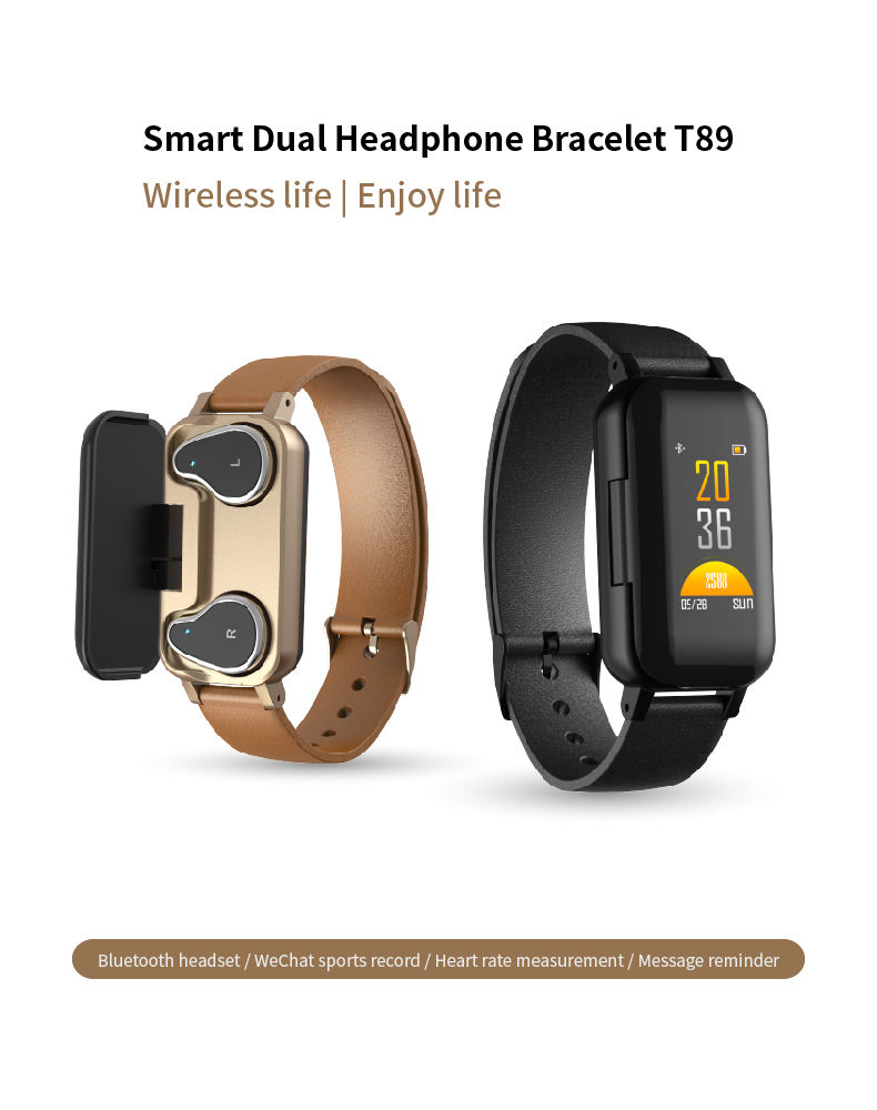 New Coming Smart Bracelet with TWS Earbuds T89 Binaural Bluetooth Earphone Headphone Fitness Tracker watch