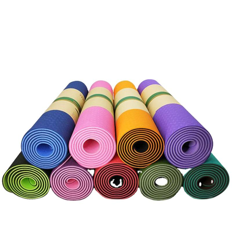 Eco friendly fitness exercise double color 6mm tpe yoga mat