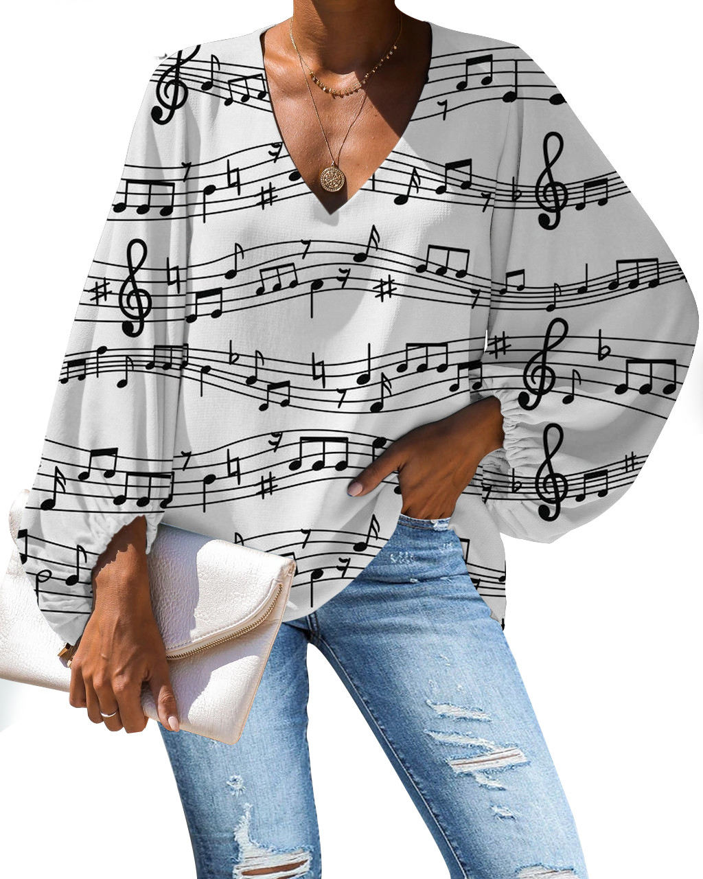 cheap wholesale blouse plus size Musical Notes printed long sleeve women blouse casual tops luxury women blouse 2021 summer tees