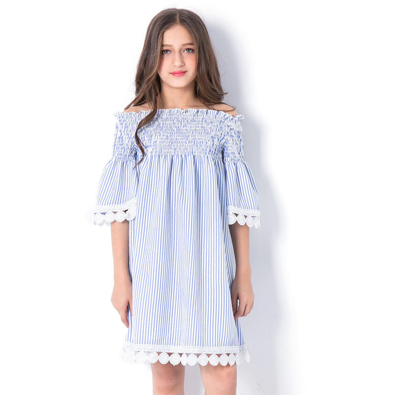2020 Latest design summer stockings off shoulder dress lace striped casual dresses baby girl frocks