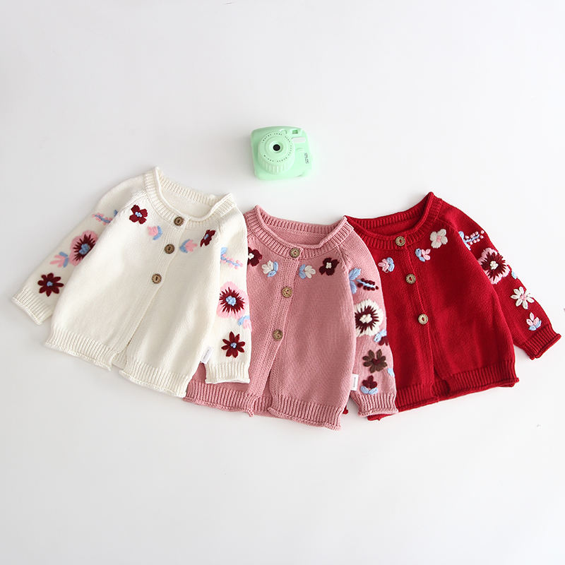 Wholesale Infants Baby Girls Knitted Sweater Cardigan Clothes