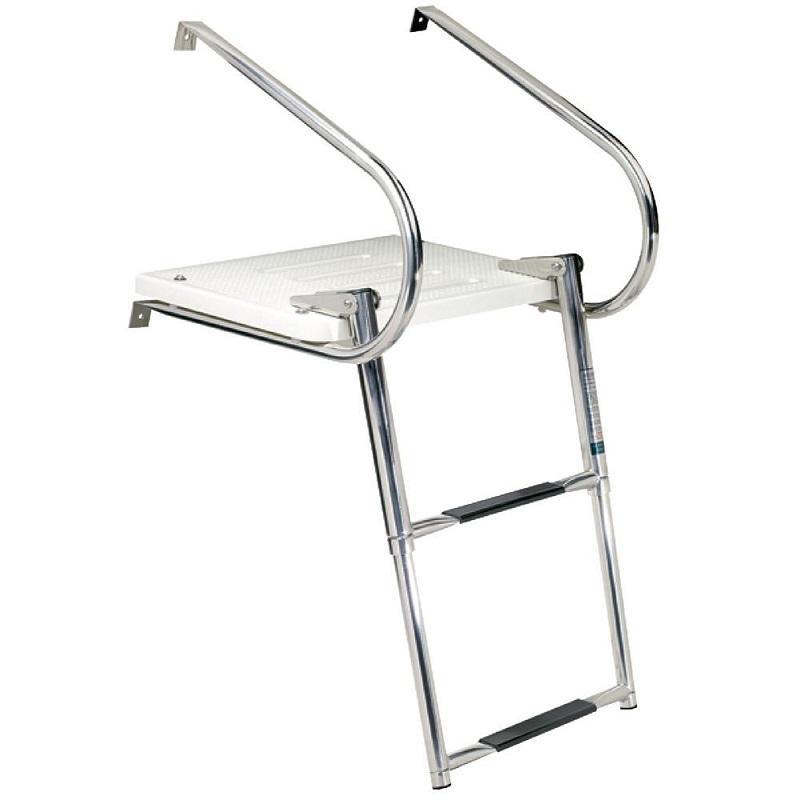 Outboard Hi-Strength Fiberglass Boat Swim Platform w// 3 Steps Ladder One Rails