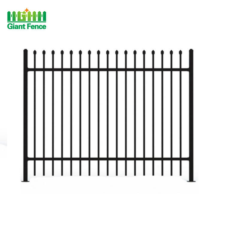 Home Garden Powder Coated Top Spear Metal Tubular Black Aluminum Fence Panels