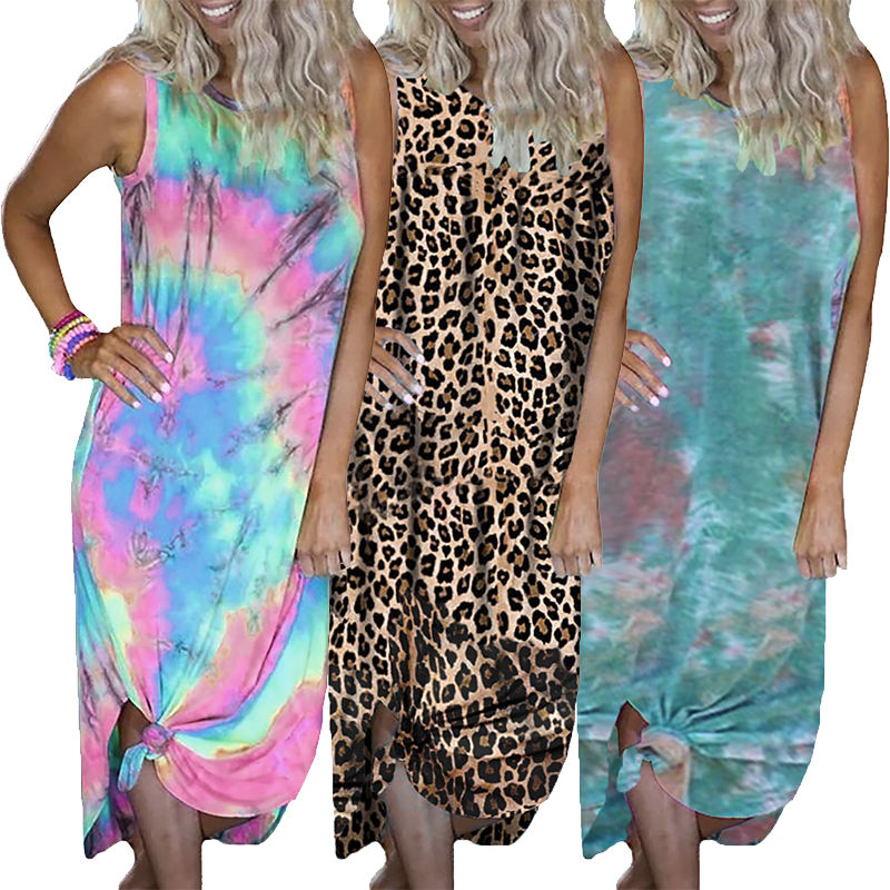 2020 Fashion Summer Women Sand in My Toes Neon Casual Maxi Tie Dye Dress
