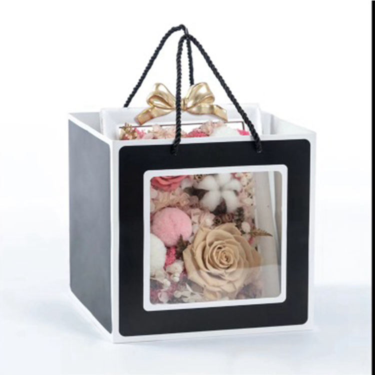 paper bags with window and handles kraft paper gift small square flower carrier bag