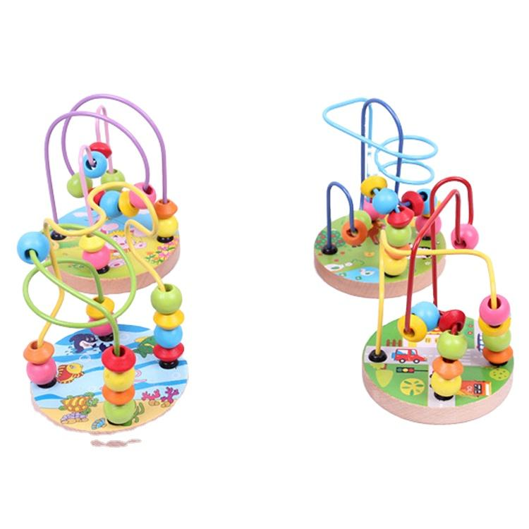 Marine Animal Wooden Learning Educational Toys,White Rabbit Intellective Wood Bead Maze Toys