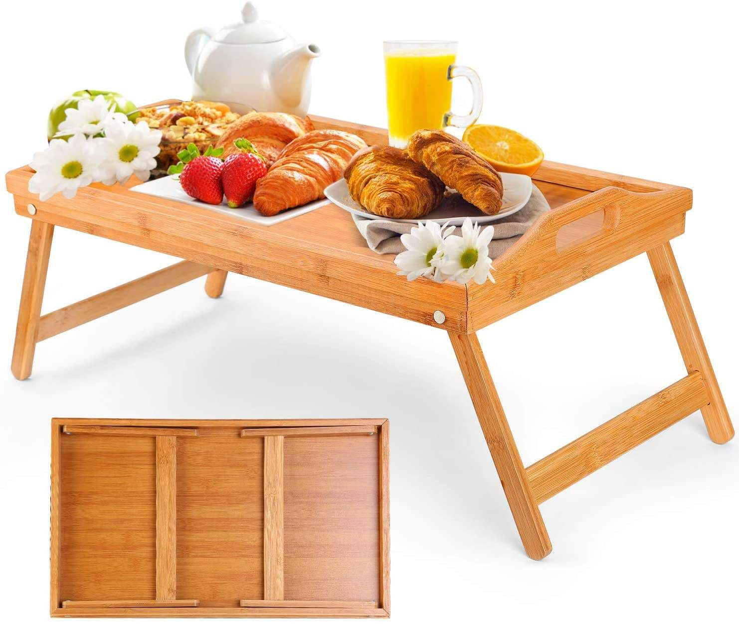 Lap Desk Bed Tray Bamboo Handles Foldable Breakfast Serving Tray Adjustable Legs Laptop Stand Natural