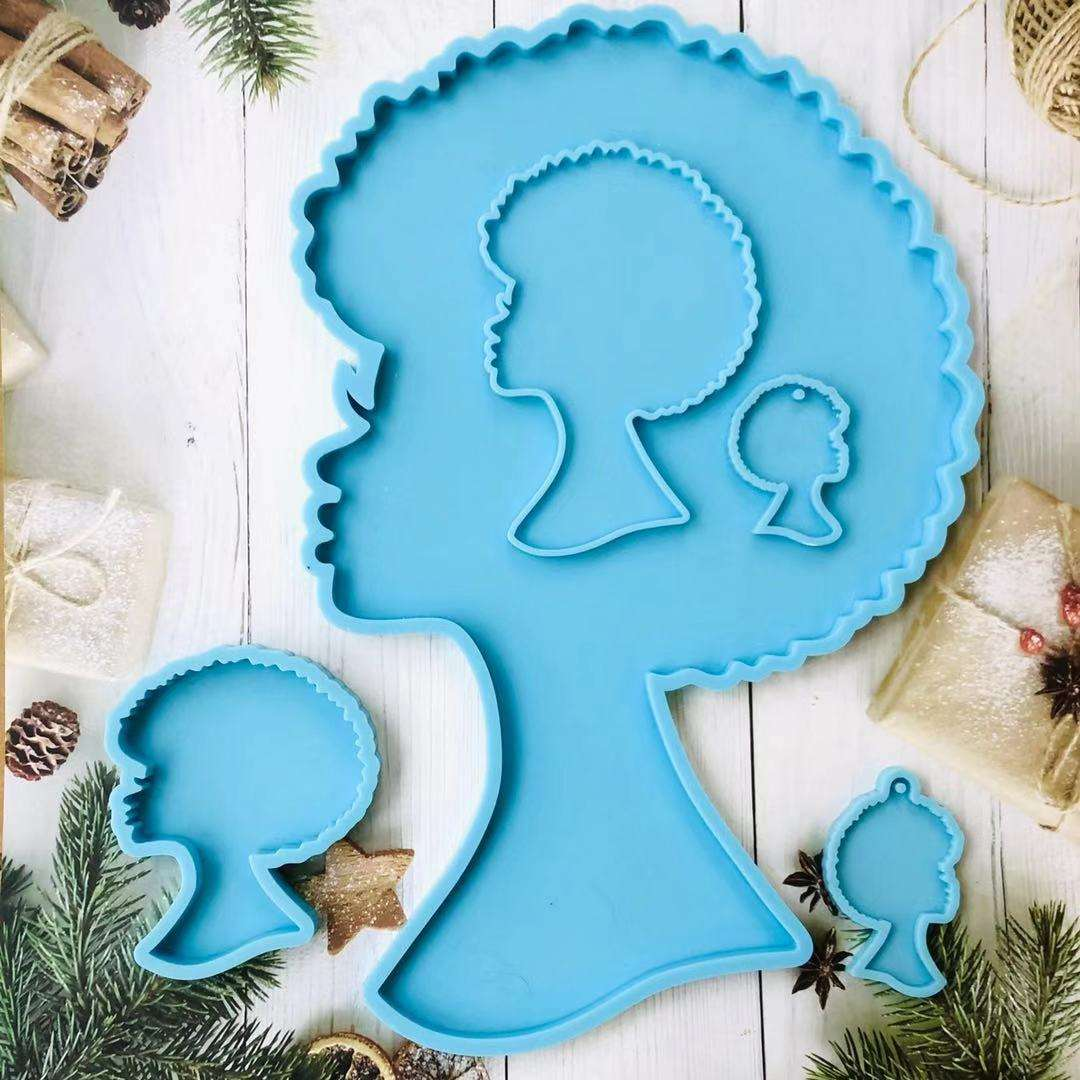 B1165 DIY Shiny Resin Big Tray Mold Silicone Africa Woman Head Coaster Mold