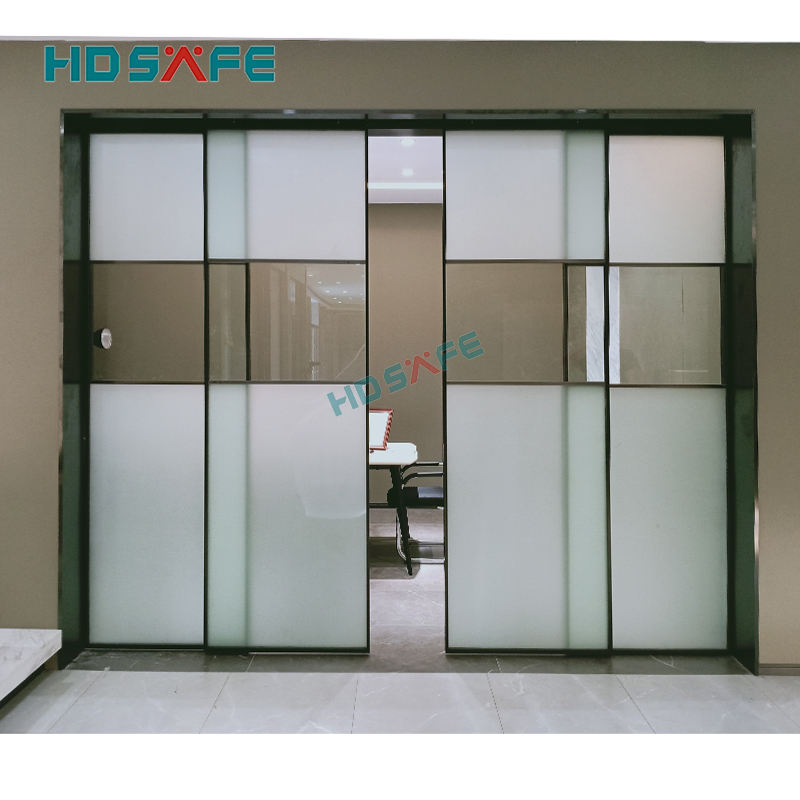 HDSAFE aluminum interior narrow frame double slide door system frosted glass door for meeting room interior sliding glass door