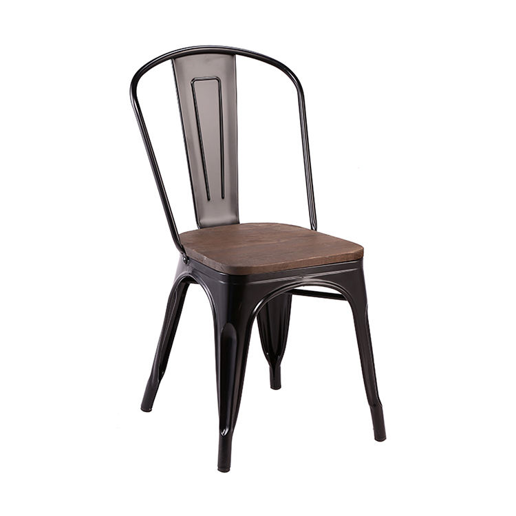 Free Sample Dining Plastic Stadium Salon Banana Frames No Seat Marais High Back Black Metal Chair With Metal Chrome Legs