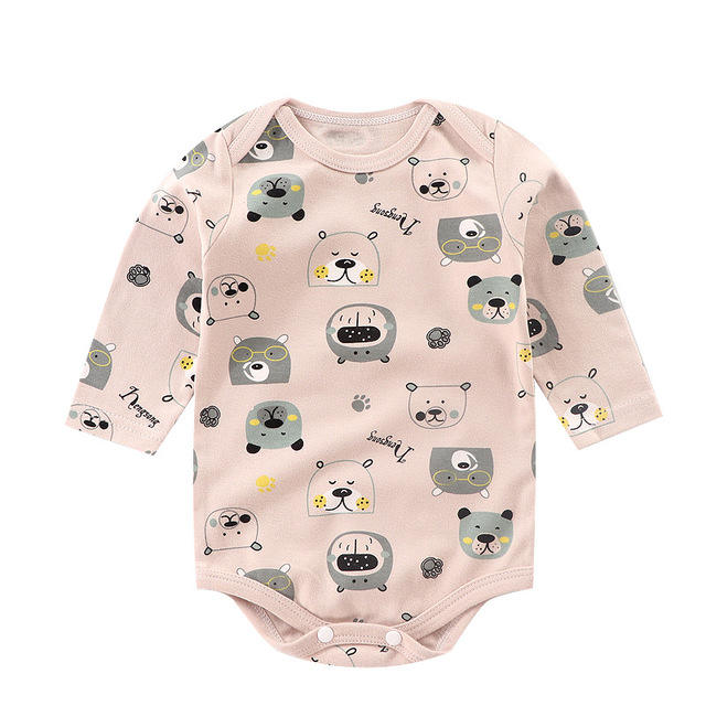 Michley OEM Wholesale Unisex Long Sleeve Newborn Girl Printing 100%Cotton Baby Rompers