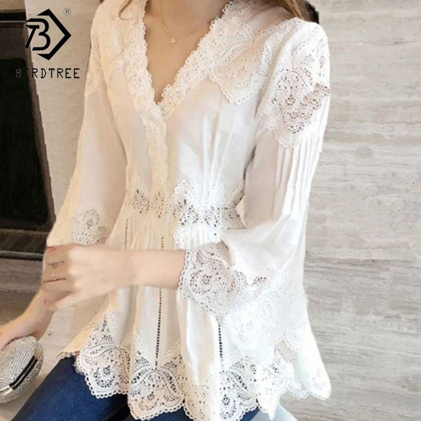 New Arrival Women Sweet Ruffles V-Neck Fashion Lace Shirt Hollow Out Women Blouses Casual Tops T90812B
