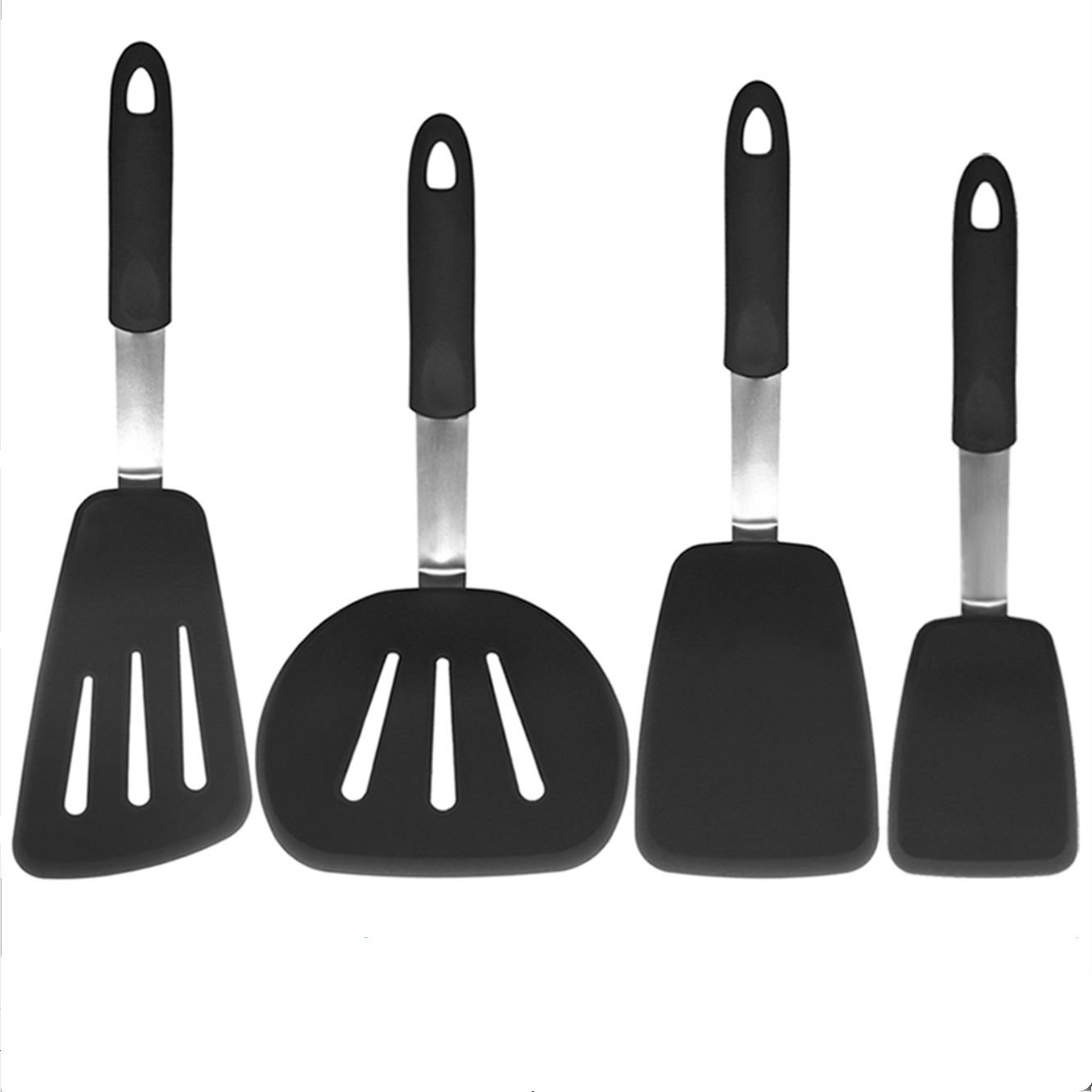 4pcs Silicone Cooking Kitchen Utensils Set Non Toxic Silicone Turner Tongs Spatula Spoon