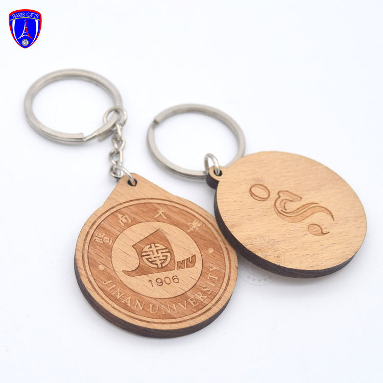 Custom promotional wood craft keychain printing laser logo wooden keychain for University school celebration souvenir gift