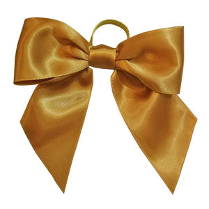 gold pre-tie satin ribbon bow with elastic loop for perfume bottle/wine bottle decoration