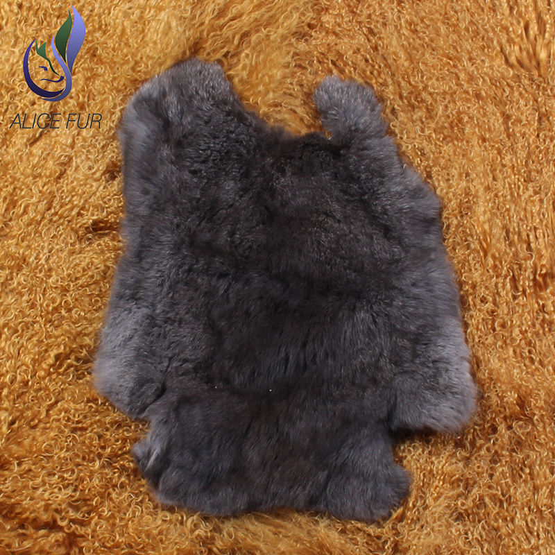 China factory 100% real animals fur black rabbit fur plate wholesale