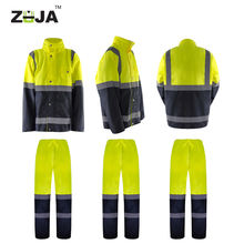 ZUJA OEM Police Traffic Security Guard Reflective PVC Raincoat