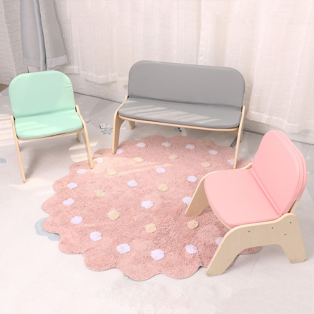 Kindergarten Cute Kids Sofa Chair Children Wooden Leather Cushioned Baby Seat Low Bench
