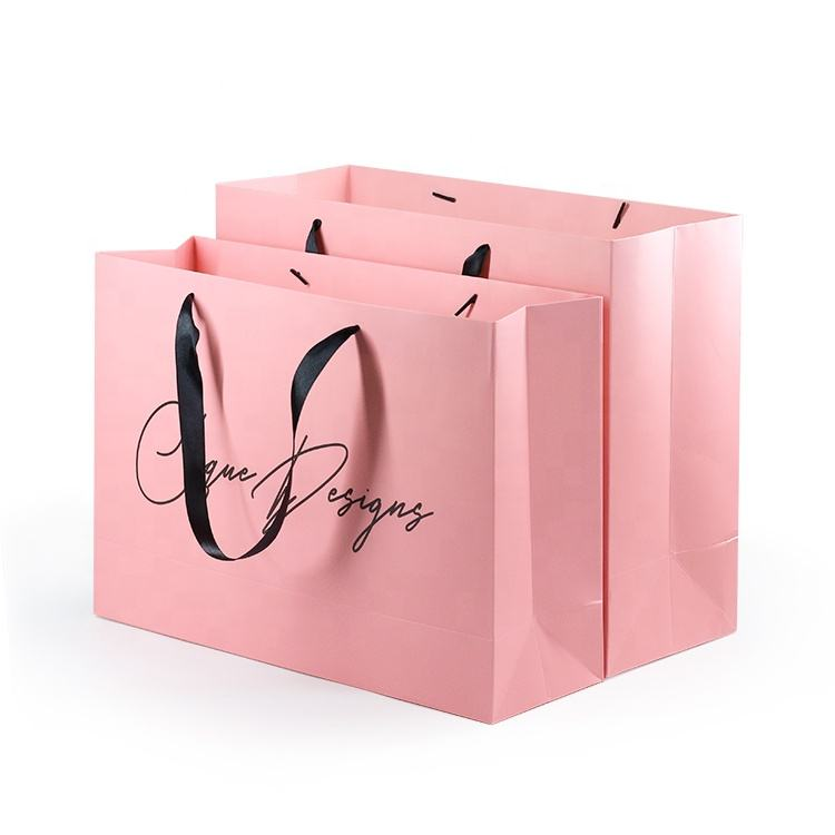 Custom Printed Personalized Pink Matte Laminated Retail Shopping Euro Tote Paper Bag With Logos