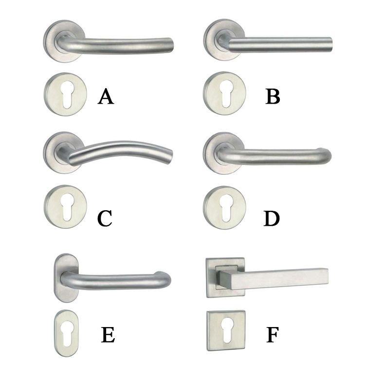 Bathroom Round Rosette Escutcheon Stainless Steel Pull Handle Steel Lock Lever Pull Stainless Door Handle