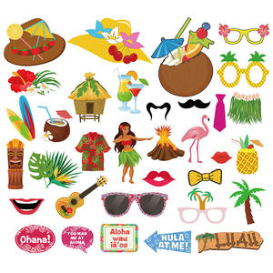 Luau havaiano Photo Booth Props Kit Havaiano Tropical Summer Pool Party Favors Suprimentos Decorações para Crianças
