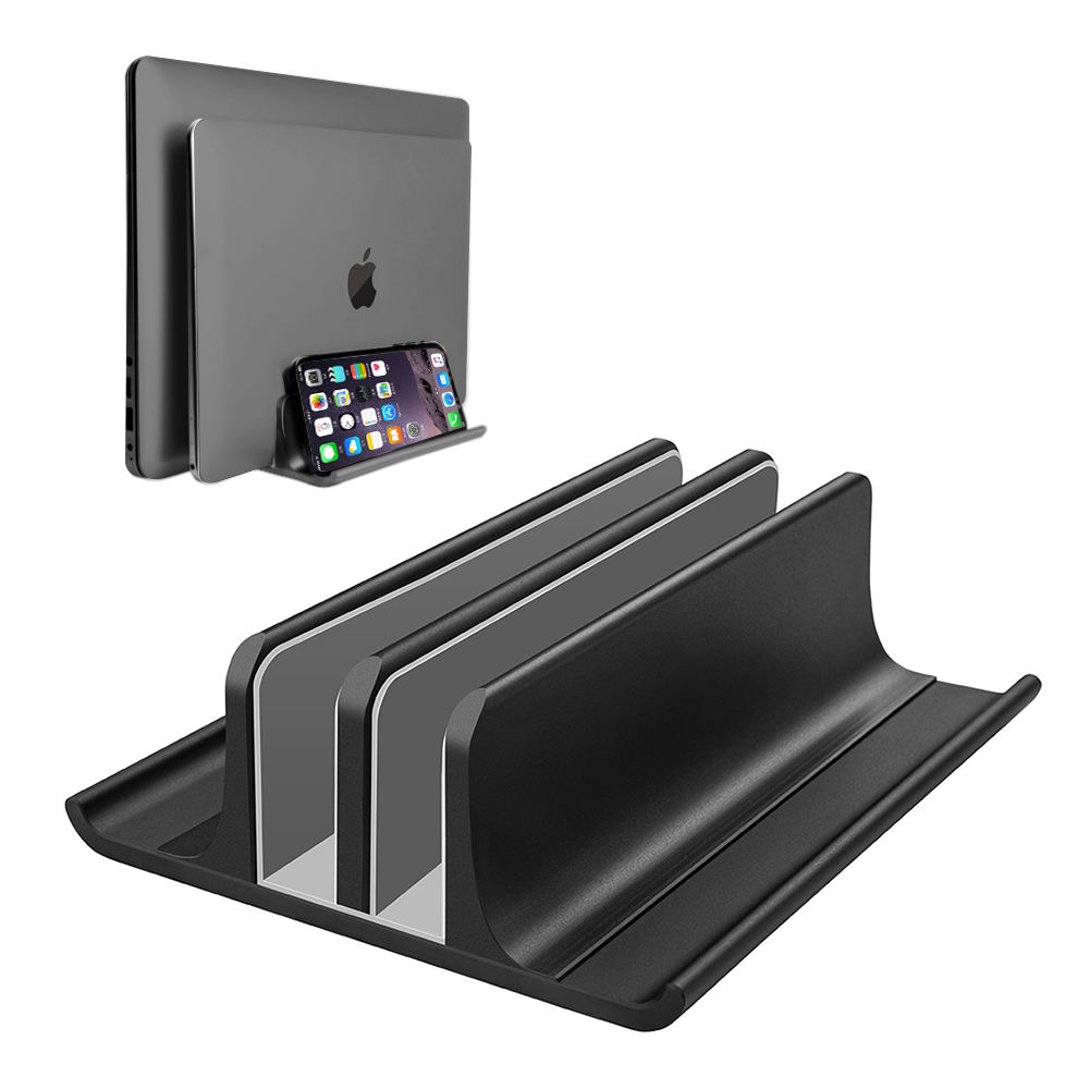 Newly Designed 4 in 1 Up to 17.3 Inches - Silver Desktop Dual Holder Adjustable Metal Aluminum Vertical Laptop Stand
