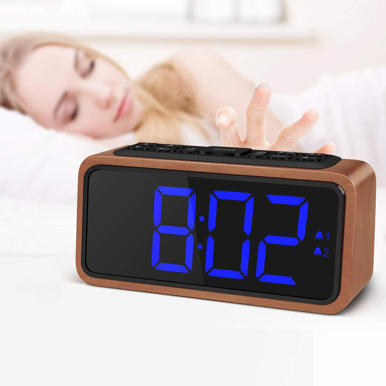 Digital Electronic Display Desk & Table Clocks Wooden and Plastic Style LED Alarm Clock
