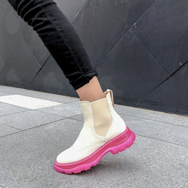 neon pink white platform ankle booties latex women sneaker fashion casual shoes