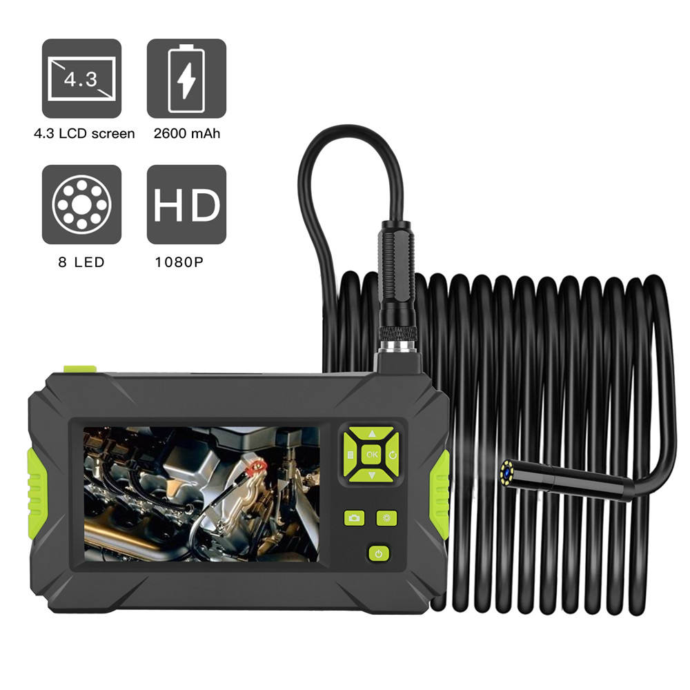 P30 Waterproof Digital Borescope 8MM HD 1080P Industrial Endoscope 4.3inch HD LCD Camera Video Inspection Camera