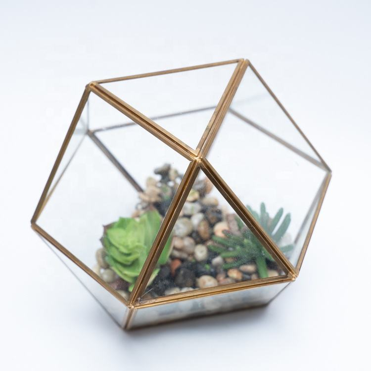 Zhujiang Customized Glass and Metal Terrarium Geometric Glass Terrarium Wholesale For Decoration Or Plant