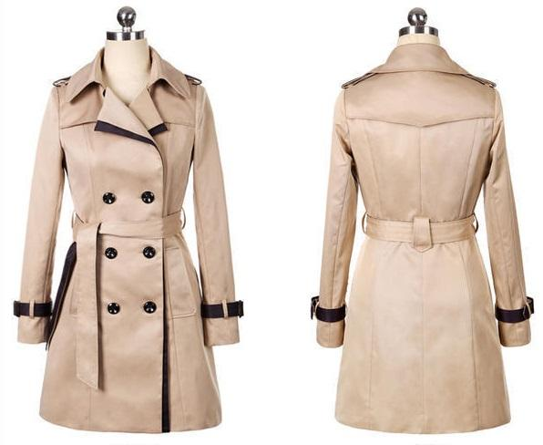 Women Winter Double Button Long Coat Ladies Slim Fit Casual Overcoat