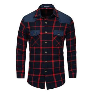 New Design Cotton Jeans and Plaid Shirt Men 's Casual Long Sleeve Colorful Plaid Shirts