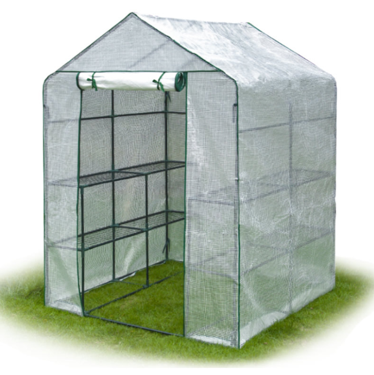 Outdoor Portable Greenhouse Mini Walk In 3 Tiers 12 Shelves Stands Small Shelving Green House For Herb And Flower