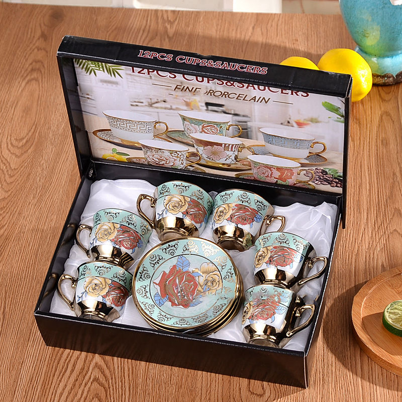 Stile europeo di Caffè Set di Ceramica Placcato In Sei Tazze e Sei Piattini Set Creativo Gift Box Set