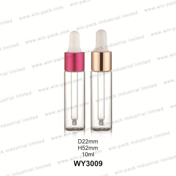 3ml 5ml 8ml 10ml 15ml clear glass oil serum essential bottles with gold aluminium collar dropper and silicone bulb