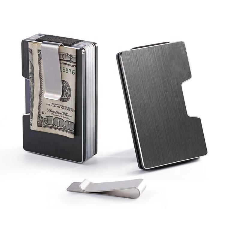 Custom logo RFID blocking aluminium card holder metal mens wallet money clip metal wallet