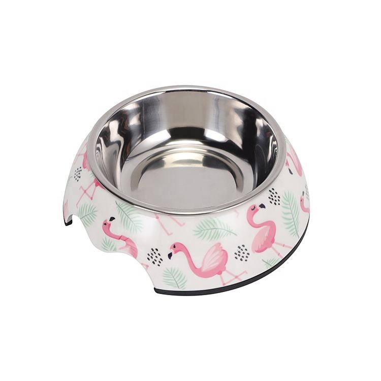 LOW MOQ Custom Print Cheap Bulk Plastic Anti Slip Melamine Dog Bowl Feeder With Stainless Steel Bowl