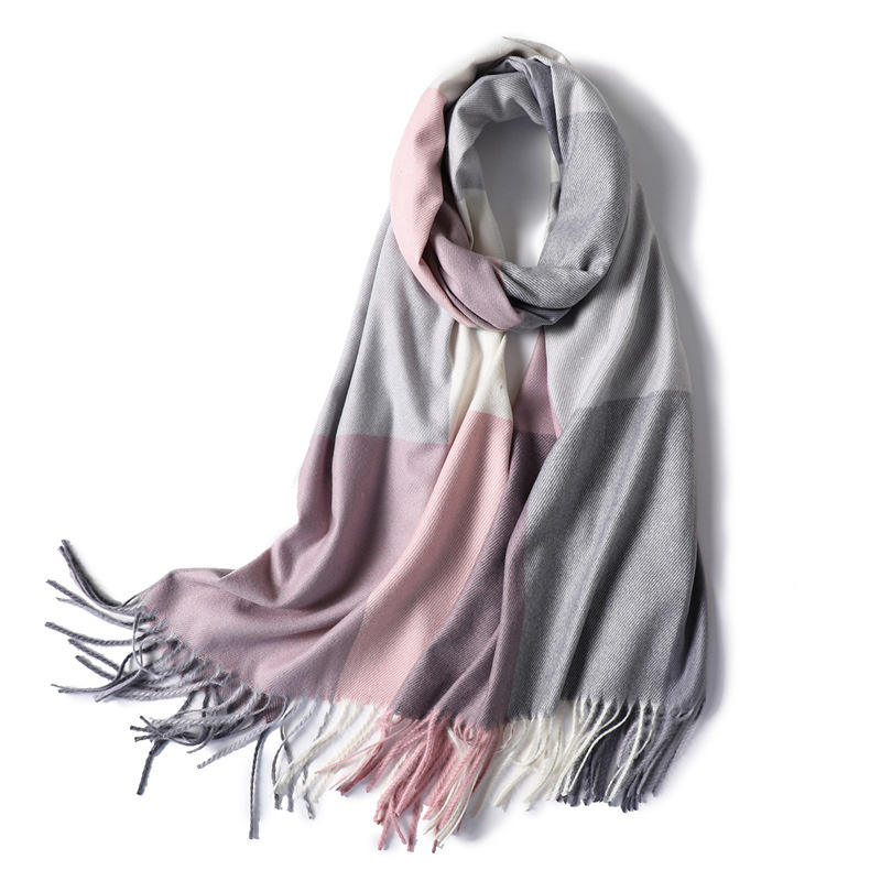 2019 Wholesale Ladies Big Plaid Scarves Shawls Custom Winter Women Printed Tassel Fringe Pashmina Scarf Cashmere
