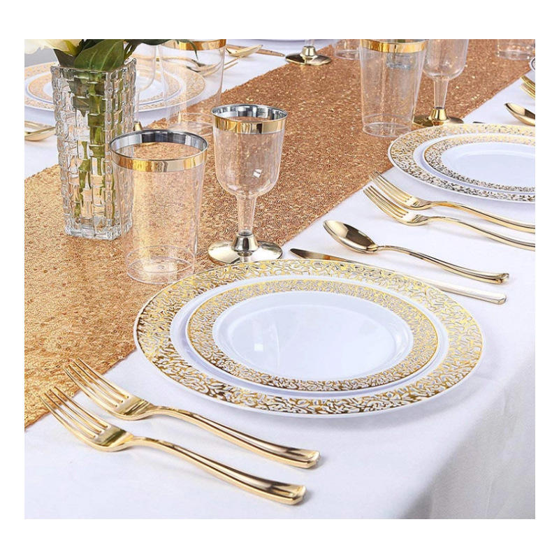 Gold wedding party plastic disposable tableware sets