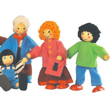 Happy Doll Family for Kids Wooden Joint Puppet Maumet Fun Role Playing Wooden Dolls